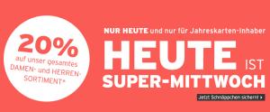 20 % Rabatt für Jahreskarten-Inhaber von Ernstings Family Super Mittwoch