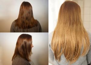 Extentions für Haare: vor und naher fotografiert