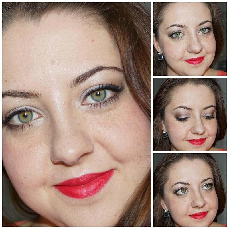Look mit rotem Lippenstift