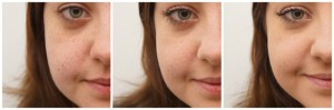 1. Bild: ungeschminkt; 2. Bild: Bobbi Brown Pressed Powder; 3. Bild: Powder matt Make-up von Manhattan & Bobbi Brown Pressed Powder