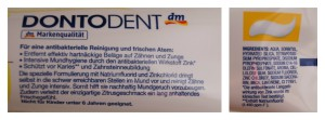 Dontodent Zahnpasta Verpackungsrückseite Intensive Clean