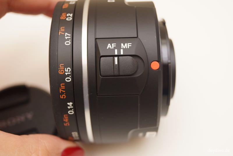 Umschaltknopf von Autofokus auf manueller Fokus
