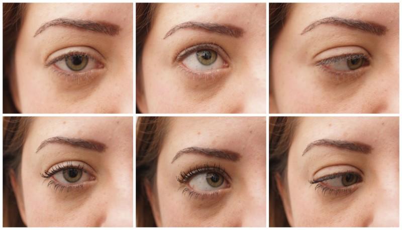 Im direkten Vergleich. Oben Wimpern ungetuscht und untere Reihe getuschte Wimpern mit Diorshow Iconic Overcurl Mascara in Schwarz