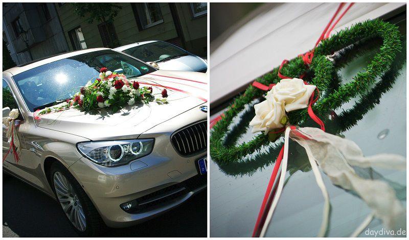 Autodekoration für Hochzeit rot creme
