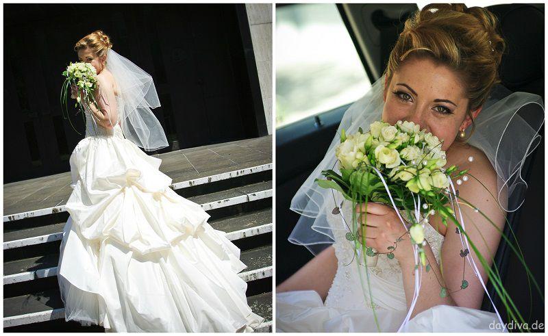 Mein Brautkleid ivory bestickt mit langer Schleppe drappiert-daydiva