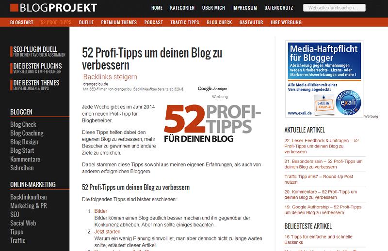 Rubrik von Blogprojekt.de 52 Profi Tipps um deinen Blog zu verbessern