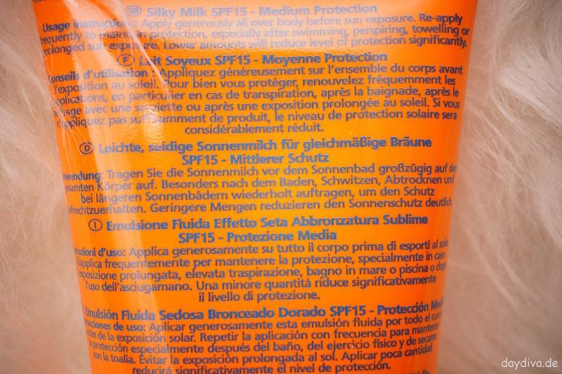 Anwenungshinweis Lancaster Sonnenmilch SPF 15