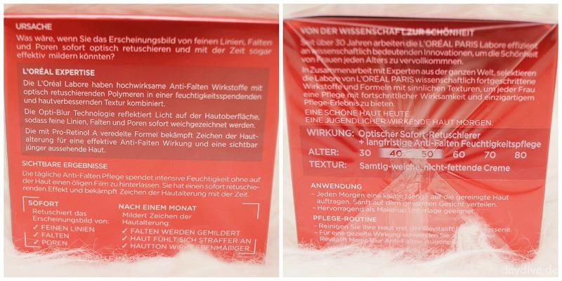Pflegehinweise L'Oreal Revitalift Magic Blur Anti Falten Feuchtigkeitspflege für die Haut