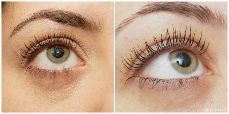 links getuschte Wimpern vor RevitaLash Anwendung, rechts nach 1 Monat RevitaLash