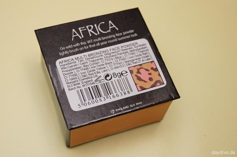 Verpackung Rückseite w7 africa multi bronzer