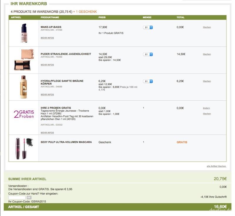 Bestellung und Sparbeispiel Yves Rocher White Night Shopping Aktion