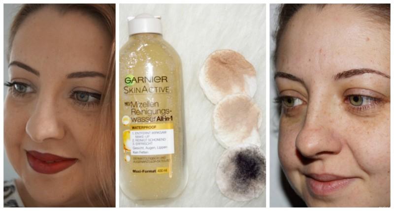 Vor und nach dem Abschminken